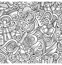 Cartoon doodles Manicure seamless pattern vector image