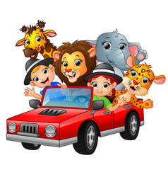 Cartoon kids driving a red car with wild animals vector