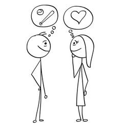 cartoon of man and woman talking about baseball vector image