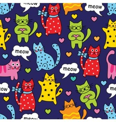 Cartoon seamless colorful cats vector image