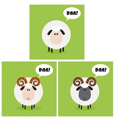 Cartoon sheep icon set vector