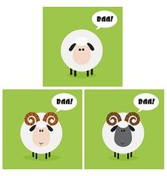 Cartoon sheep icon set vector image