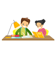 Caucasian white brother and sister doing homework vector