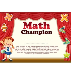 Certification with girl and math theme vector image