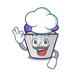 chef blueberry cupcake character cartoon vector image