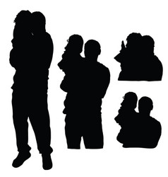 child silhouette with father in black color vector image