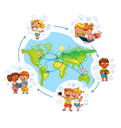 children on social networks around the world vector image