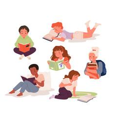 children read book set girl boy school child vector image