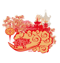Chinese zodiac year pig - banner vector