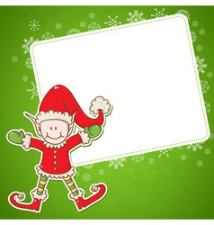 Christmas card with cute little elf Santa helper vector image