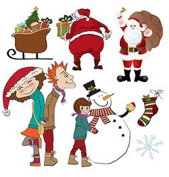 Christmas items set isolated on white background vector image