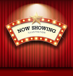 Cinema theater curve sign red curtain light up vector