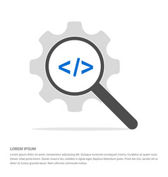 code icon search glass with gear symbol icon vector image