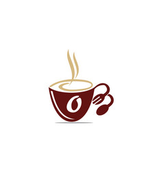Coffee cup restaurant letter o vector