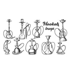 Collection different hookah set ink vector