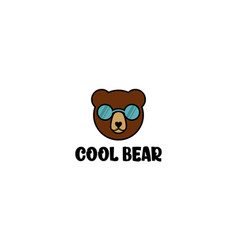 Cool bear with glasses for logo design vector