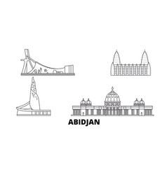 cote divoire abidjan line travel skyline set vector image