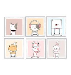 Cute baby animals with window cartoon hand drawn vector