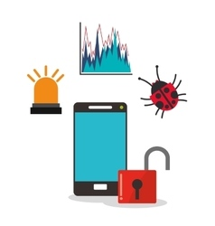 Cyber security and smartphone design vector