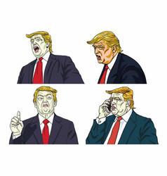 donald trump expressions set cartoon vector image