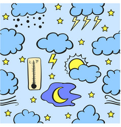 Doodle of weather style various vector