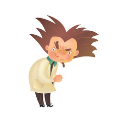 Evil mad professor with raised eyebrow in lab coat vector