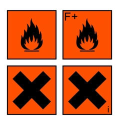extremely flammable and harmful sign set vector image