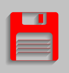 floppy disk sign red icon with soft vector image