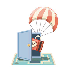 food delivery service with parachute icon vector image