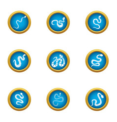 Forest snake icons set flat style vector