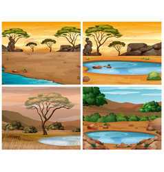 Four savanna scenes at different times of day vector
