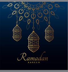 hanging golden lamps for ramadan kareem festival vector image
