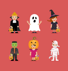 happy children in scary different costumes vector image