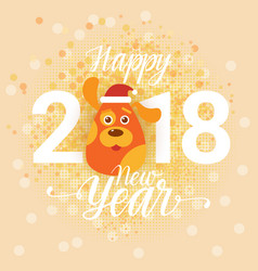 happy new year 2018 retro greeting card with dog vector image