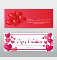 Happy valentine day gift voucher coupon banner vector