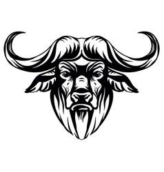 Head mascot african buffalo isolated vector