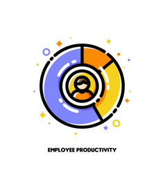 icon of multicolor diagram and staff member vector image