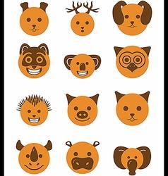 Icon set animals circle vector