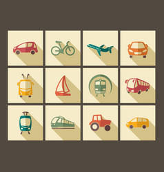 icons of transport in retro style vector image
