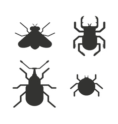Insects black silhouette icons vector
