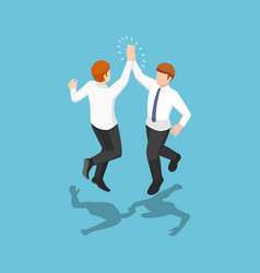 isometric two businessmen jumping and giving high vector image
