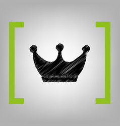 king crown sign black scribble icon in vector image