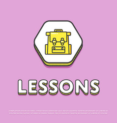 lessons colour icon with school backpack vector image
