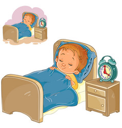 little baby sleeping in his bed vector image