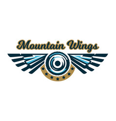 Logo a bicycle wheel and wings mount vector
