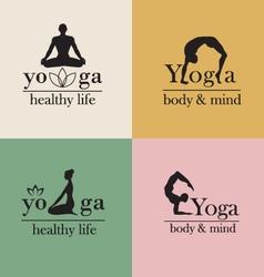 Logos for yoga studio vector