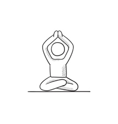 Man meditating in lotus pose sketch icon vector image
