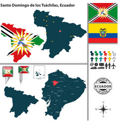 Map of santo domingo de los tsachilas ecuador vector