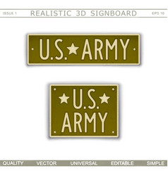 Military signboard us army vector