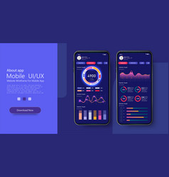 mobile app infographic template with modern design vector image